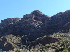 Towering cliffs of crumbly rock up on Mazatzal Peak