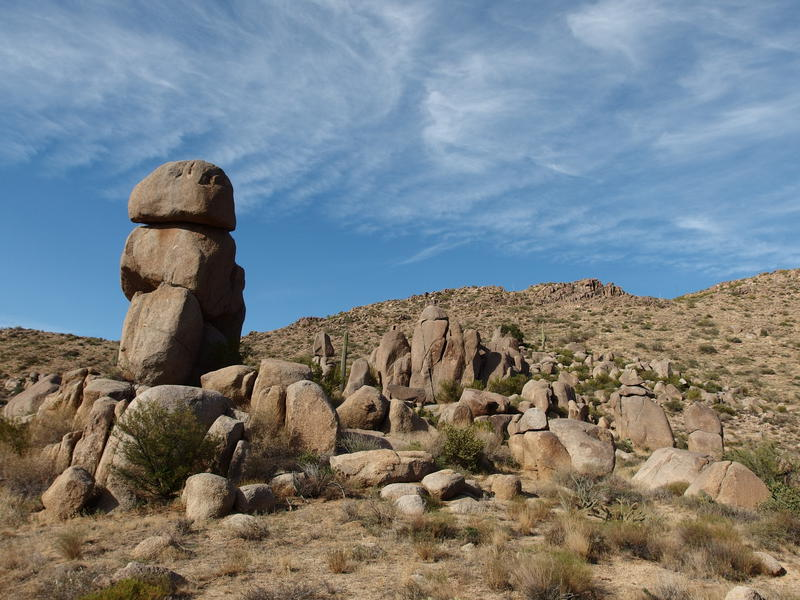 Tall piles of boulders