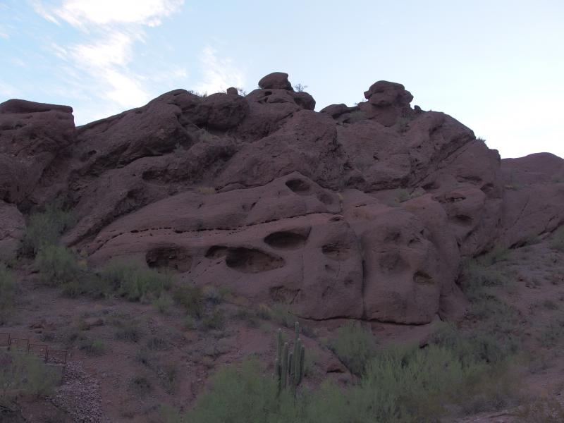 Globby rock formations above the trail