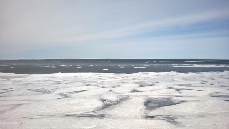 Pancake ice over Lake Superior