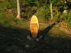Early morning sun on the new trail marker