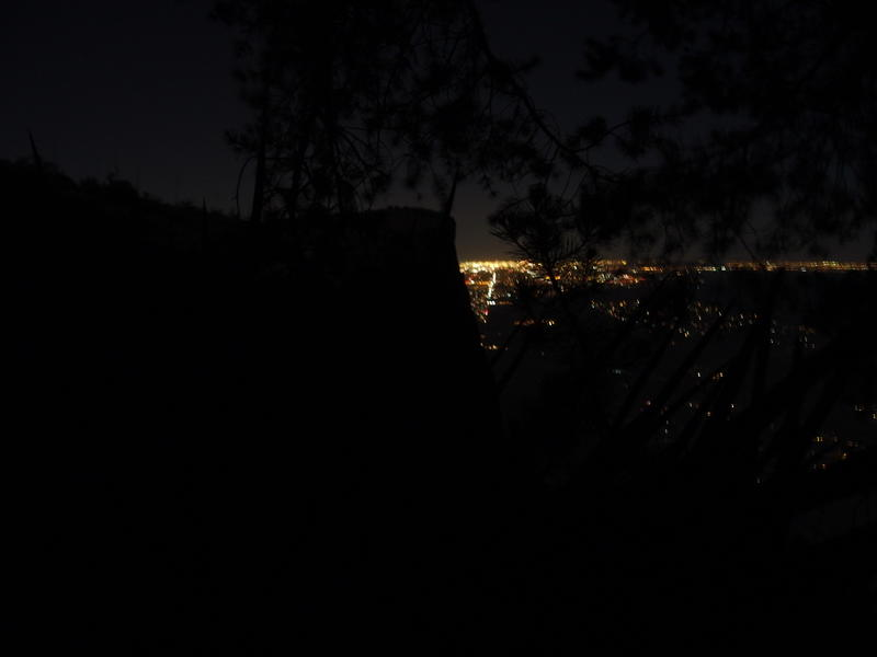 A nighttime view from camp