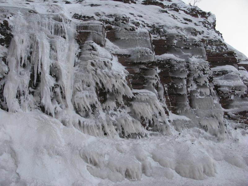 Close view of the ice formations