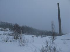 Frigid view of Champion Mill outside of Freda