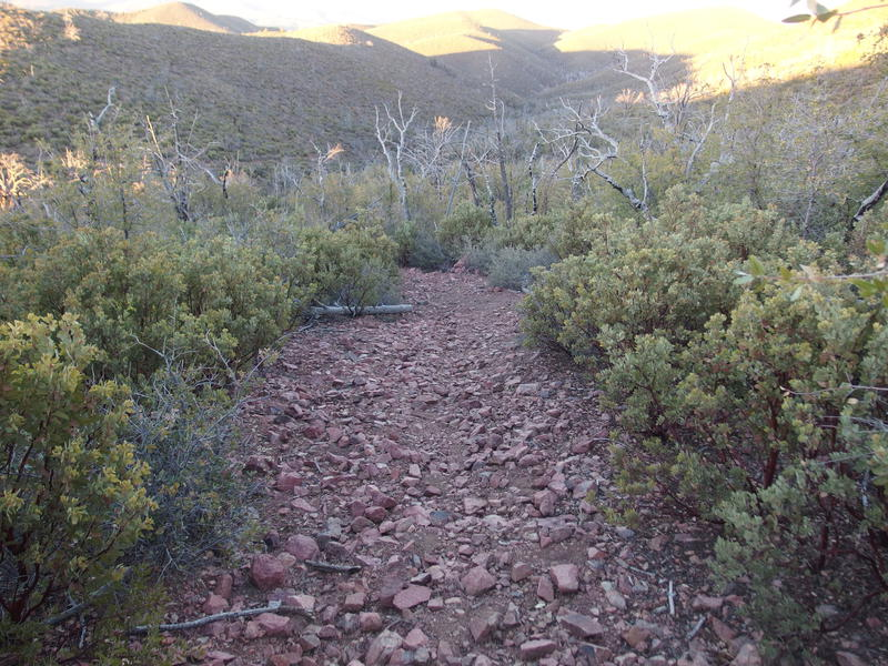 Section of loose, rocky descent