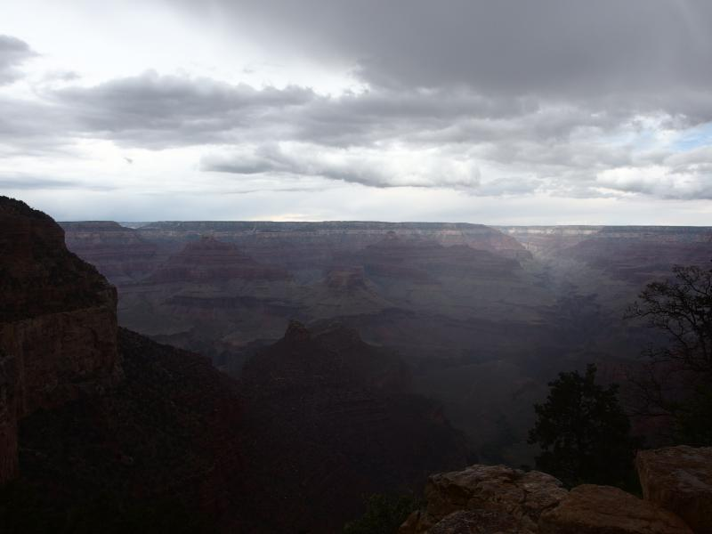Dark clouds and drizzle over the canyon