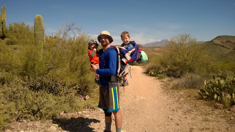 Three Emerick boys on the trail