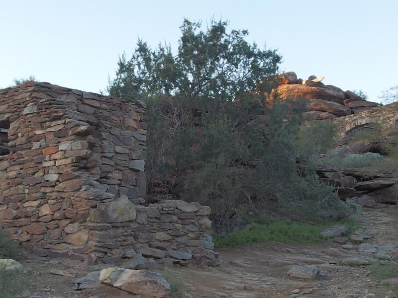 Old rock ruins above the trail