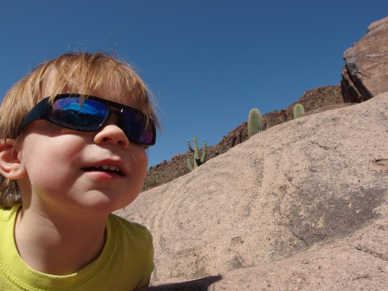 Noah checking out the cool rocks