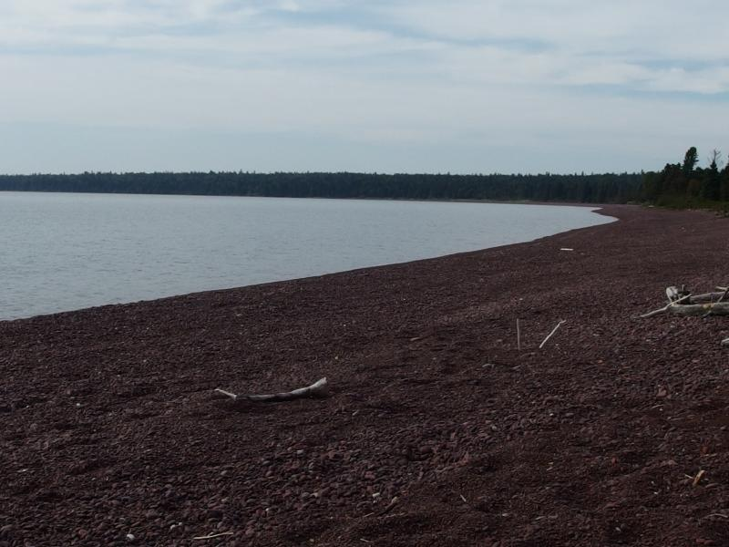 The long cobble beach at Rainbow Cove