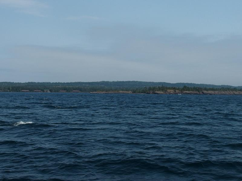 First view of Isle Royale and Rock Harbor Lodge