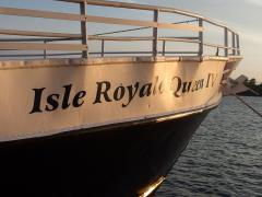 At the bow of the Isle Royale Queen IV