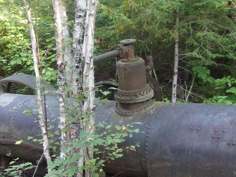 Large boiler at Island Mine ruins