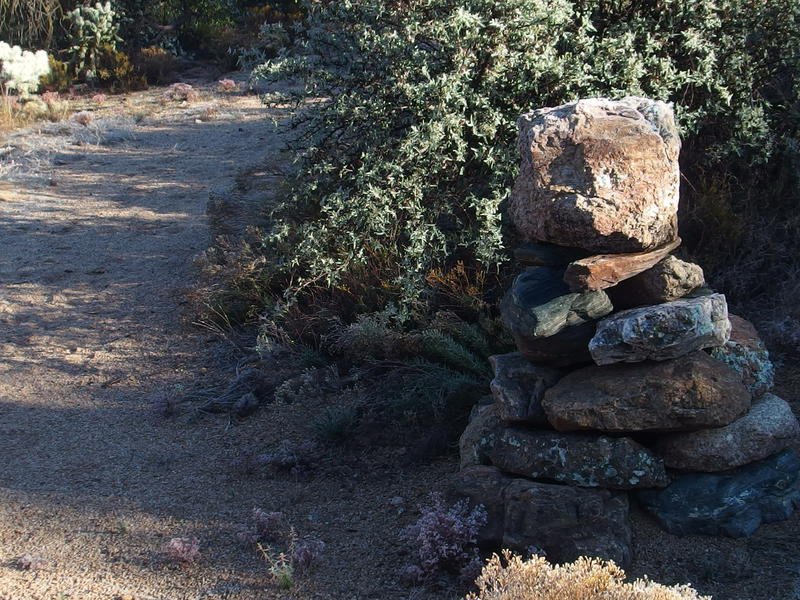 Giant cairn along the path