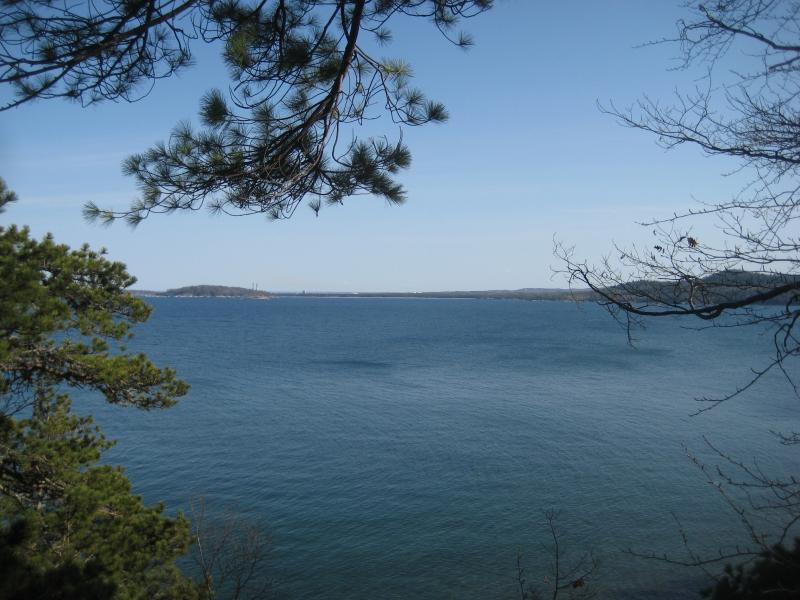 South over the blue waters towards Marquette