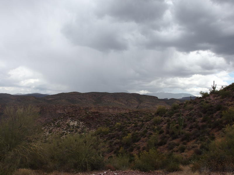 Storms coming down on Four Peaks
