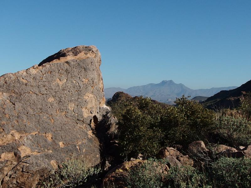 Four Peaks beyond the boulder