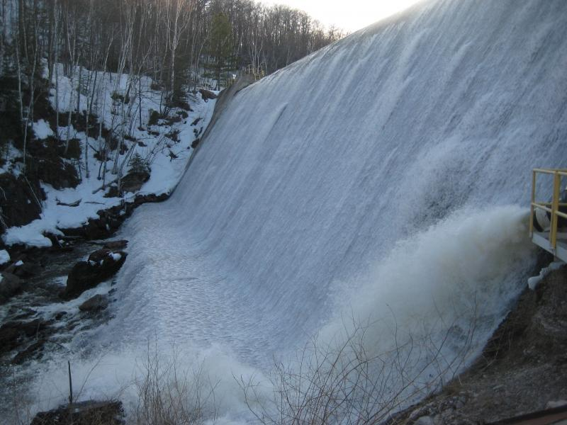 Overflowing waters at McClure Dam