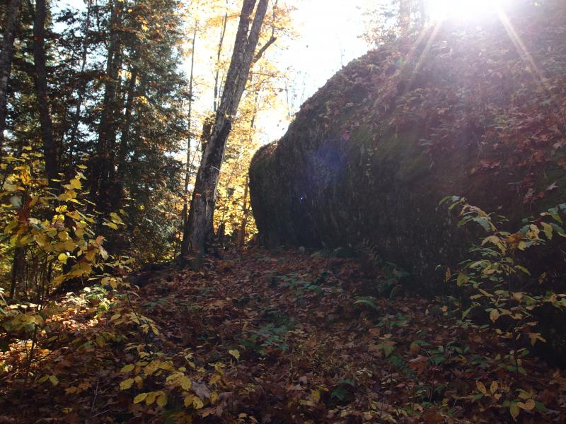 Huge bulk of rock next to the trail
