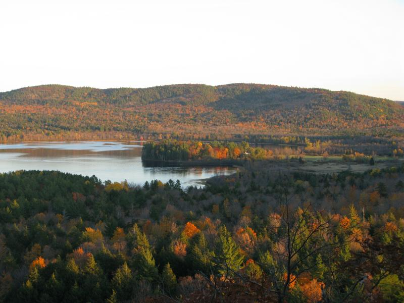 Ives Lake and Ives Hill with fall colors