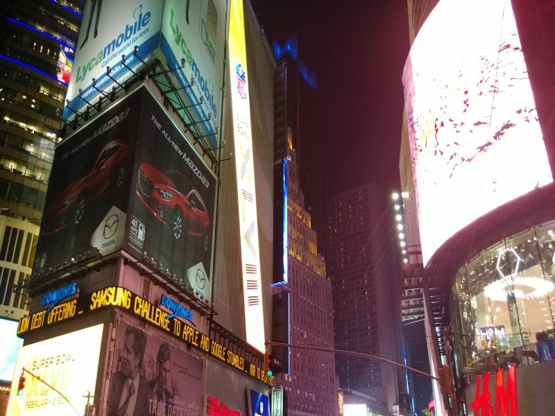 Bright lights over Times Square