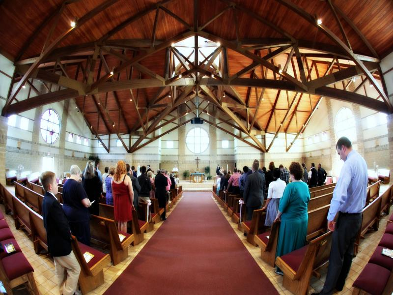 Fish-eyed view of the long ceremony