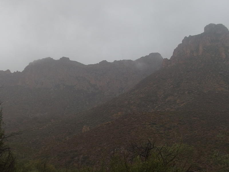 Rainy mist blocking the view of Bluff Spring Mountain