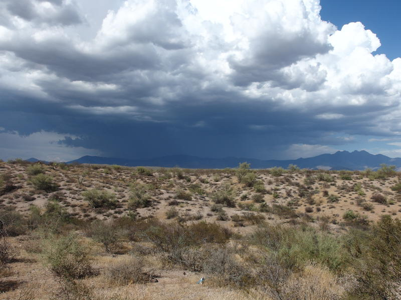 The entire eastern side of Four Peaks shrouded in dark storms