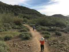 The boys heading down the desert trail