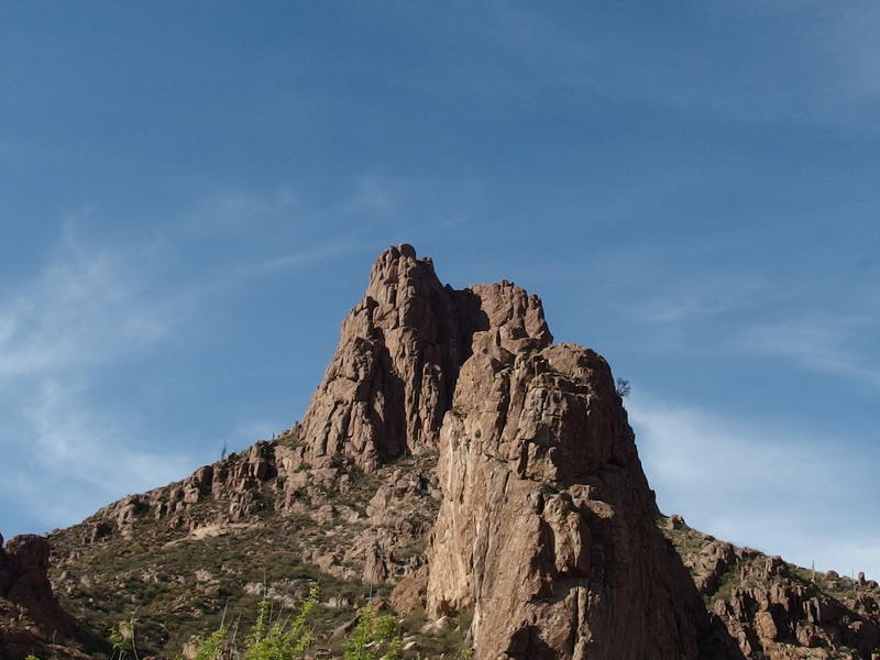 Miner's Needle towering above the trail