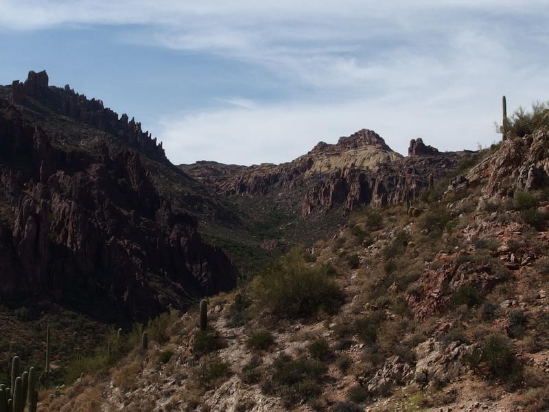 Looking up Peralta Canyon towards Fremont Saddle