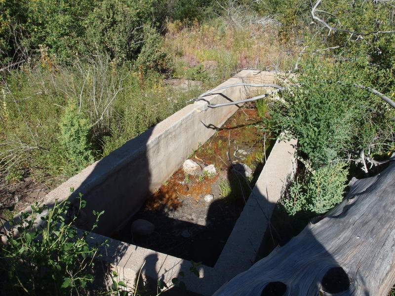 Empty water trough at Squaw Flat Spring