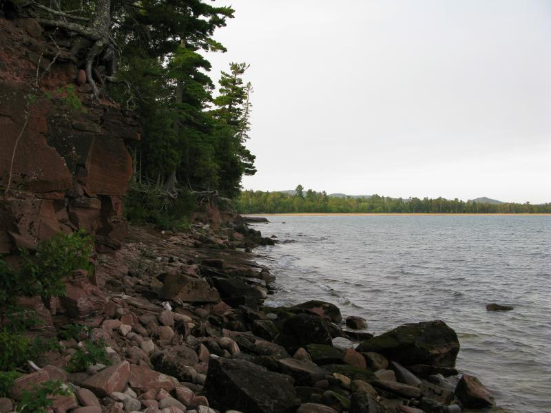 South along the rocky shoreline