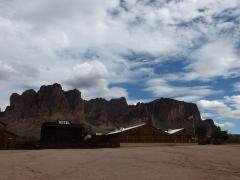 Superstition Mountains over the resturant