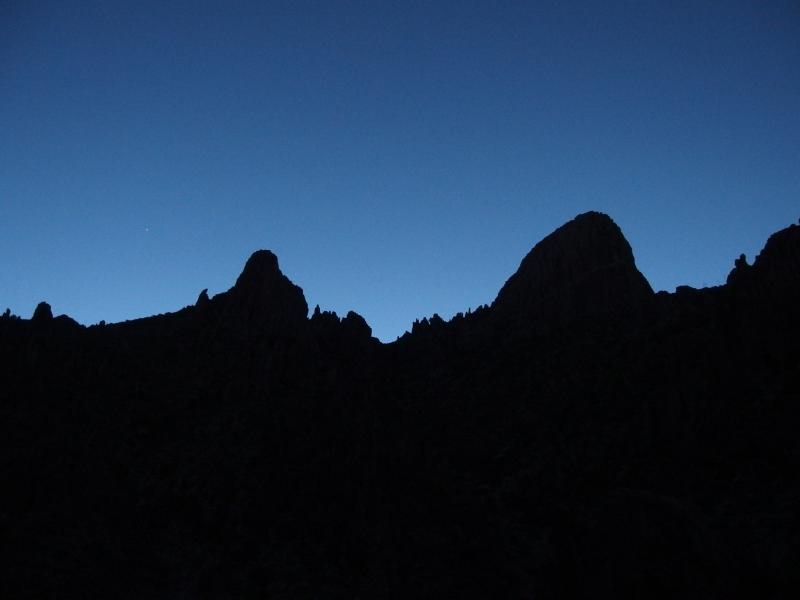 Dim outline of Flatiron in the predawn