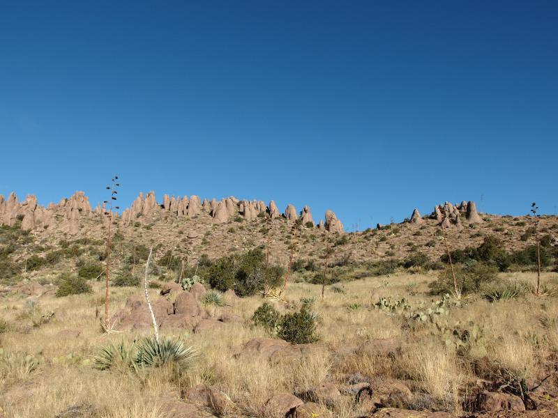 Distant hoodoos above