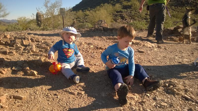 Noah and Thomas relaxing at the saddle