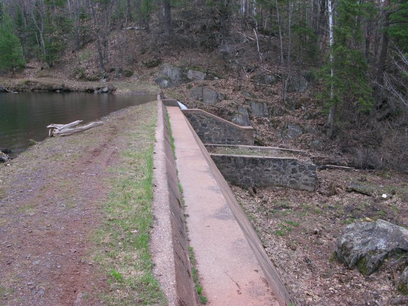 Overflow dam between Sally and Grass Lake