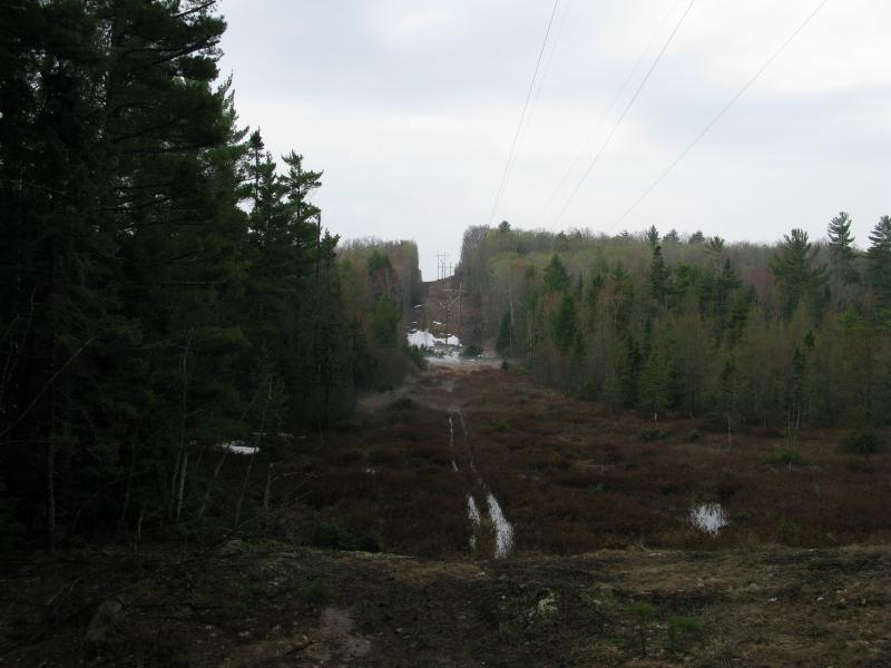 Powerline cut reaching over the lakes outlet