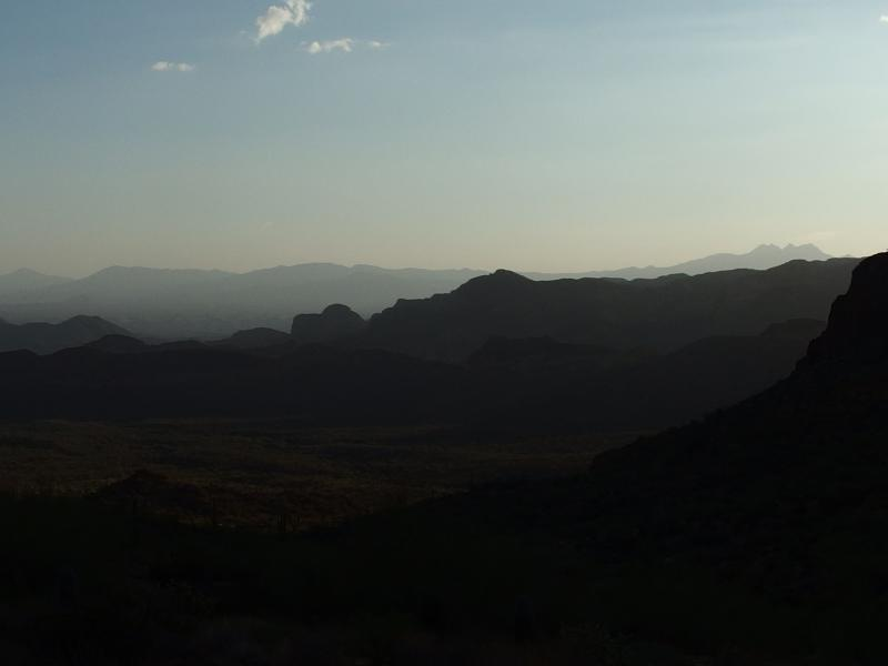 Four Peaks silhouette under the rising sun