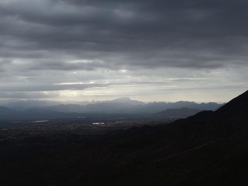 Odd light filtering down on the Superstitions