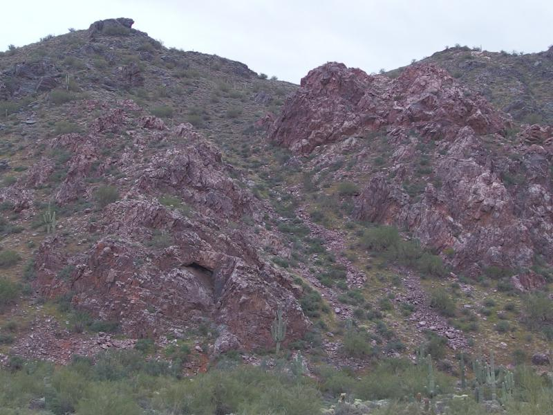 Rugged pink outcroppings on the mountains