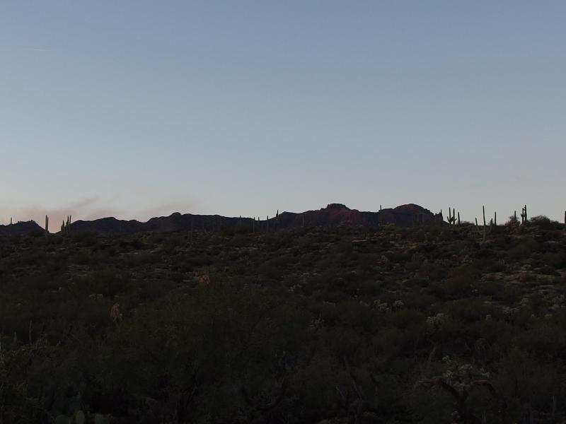Distant ridgeline of Superstitions in the west